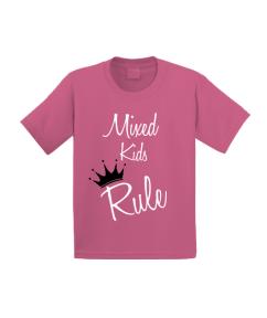Mixed Kids Rule Tee-Pink