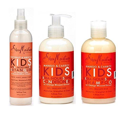 Shea Moisture Kids Hair Care Combination Pack - Mango & Carrot Nourishing Shampoo/Coconut and Coconut & Hibiscus Detangler